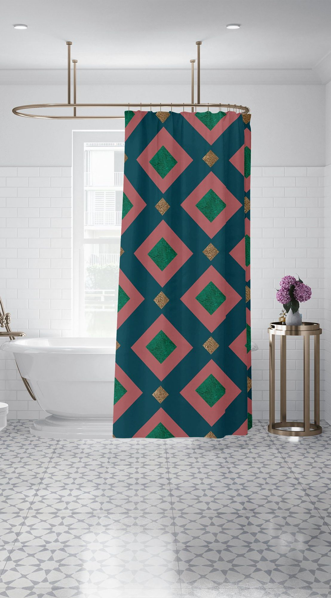 Emerald And Bronze Foil Custom Shower Curtain Teal Pink