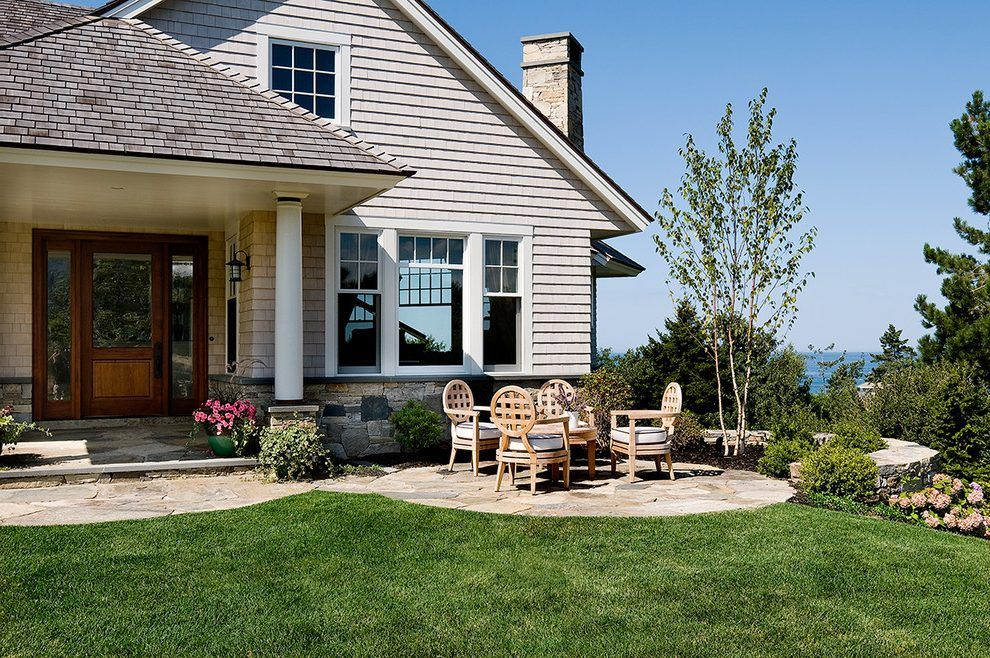Front door patio ideas patio beach style with gray shingle exterior ...