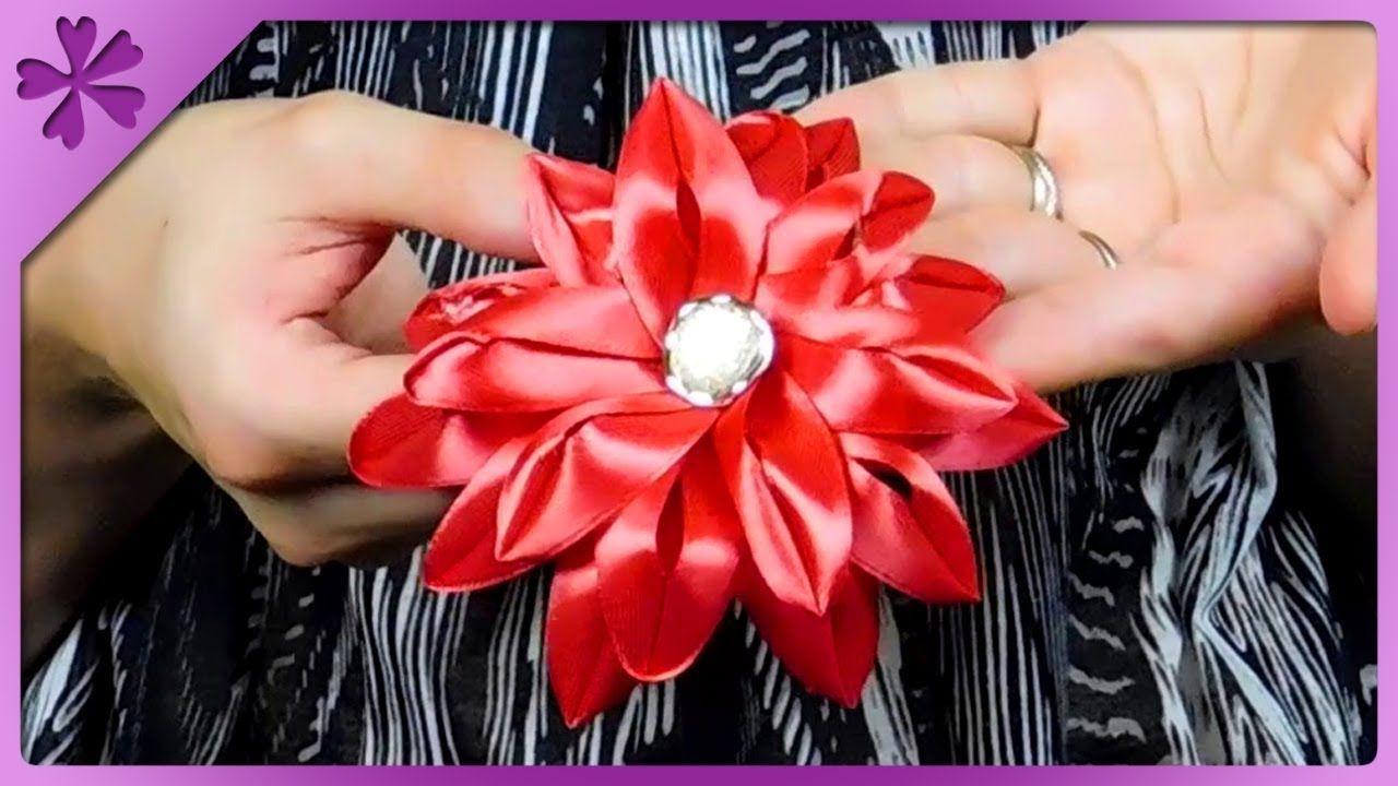 Diy Jak Zrobic Kwiat Z Tasiemki Kanzashi Na Szybko 516 Ribbon Flowers Kanzashi Flowers