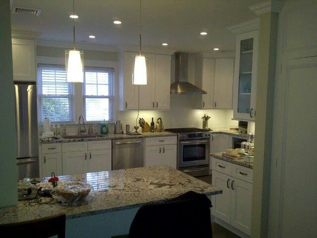 Granite Assembled Kitchen Cabinets White Shaker Kitchen