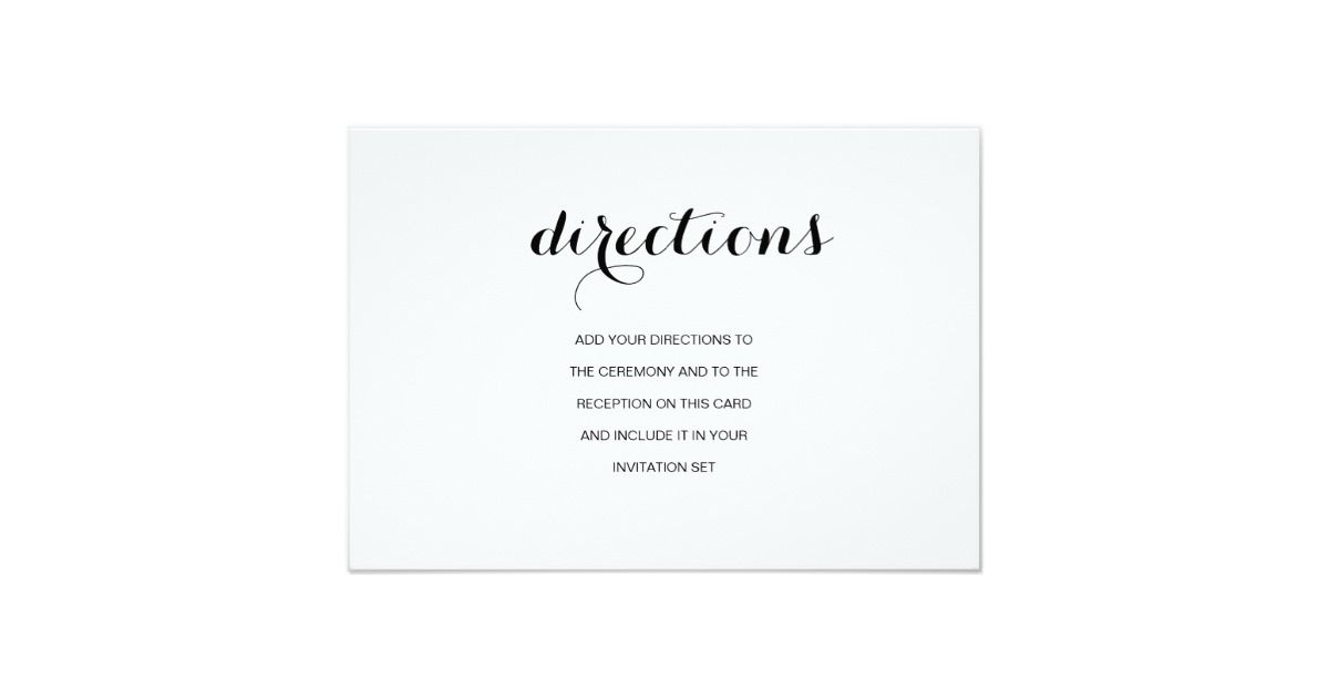 Simple Elegant Modern Wedding Directions Card RSVP Invitation