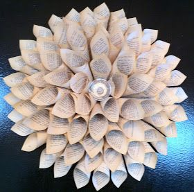 A step-by-step how to for creating beautiful wall art from paper. Upcycled romance novels are transformed into pretty paper dahlias, by Stein Your Florist Co.