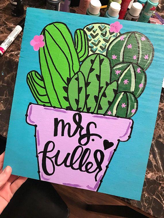 Photo of Cactus door sign – teacher sign – teacher name sign – teacher gifts- hand lettered sign- teacher appreciation- cactus art- teacher cactus