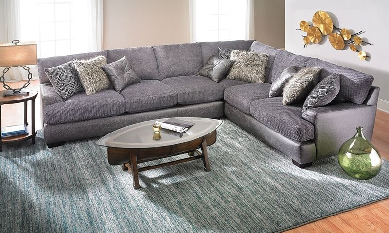 Two Toned Textured Sectional Furniture Living Room Rugs In