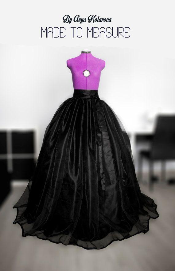 black ball gown long organza skirt satin full maxi. Black Bedroom Furniture Sets. Home Design Ideas