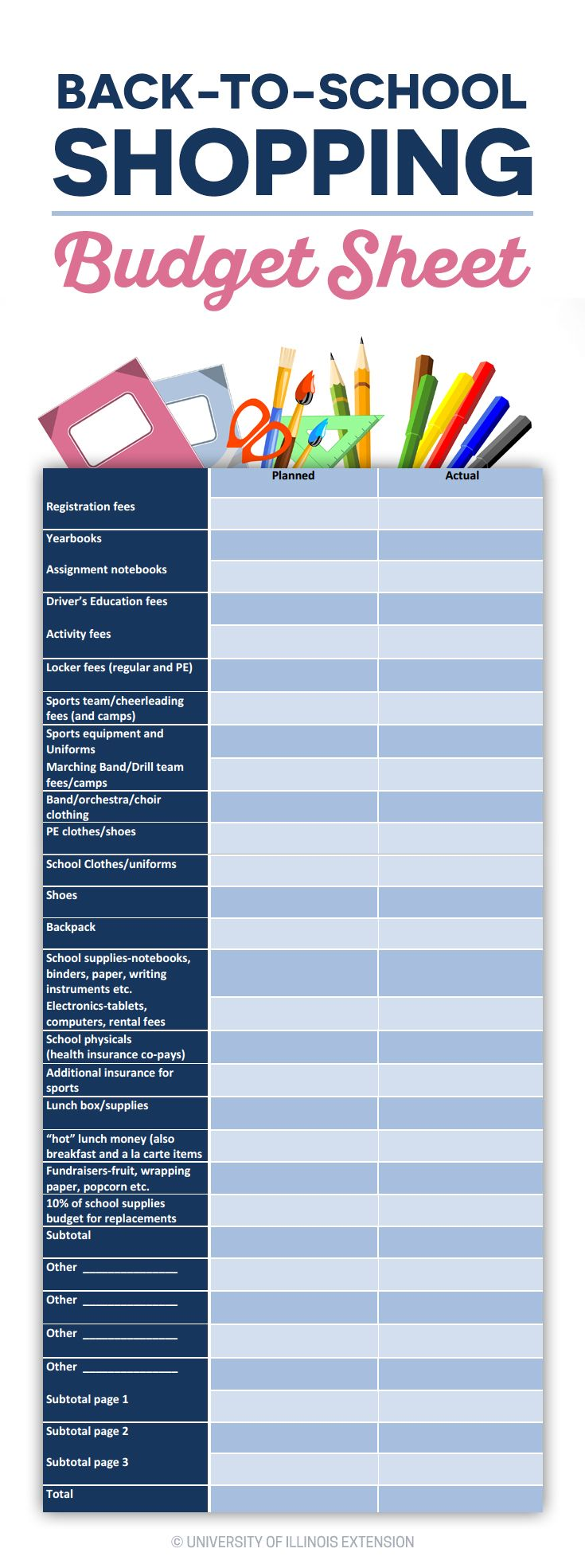Free printable backtoschool shopping budget sheet