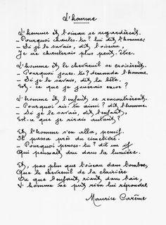 L'Homme - Maurice Carême | Poeme et citation, Poeme, Maurice careme