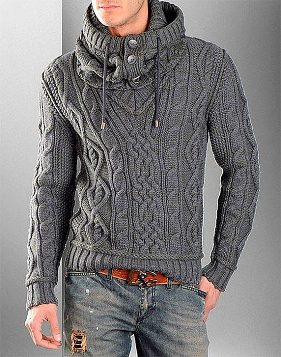 Hand Knitted Sweaters, Aran Sweaters, Cardigan Sweaters, Grey Cardigan,  Oversized Sweaters, 486c9bf58faf