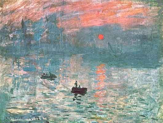 Claude Monet, impresión, sol naciente. Representa de forma realista los elementos móviles de la naturaleza. Efectos lumínicos del agua, sensaciones de la brisa. Técnica rápida de toque de pincel. Evitando la fusión de colores en la tela.