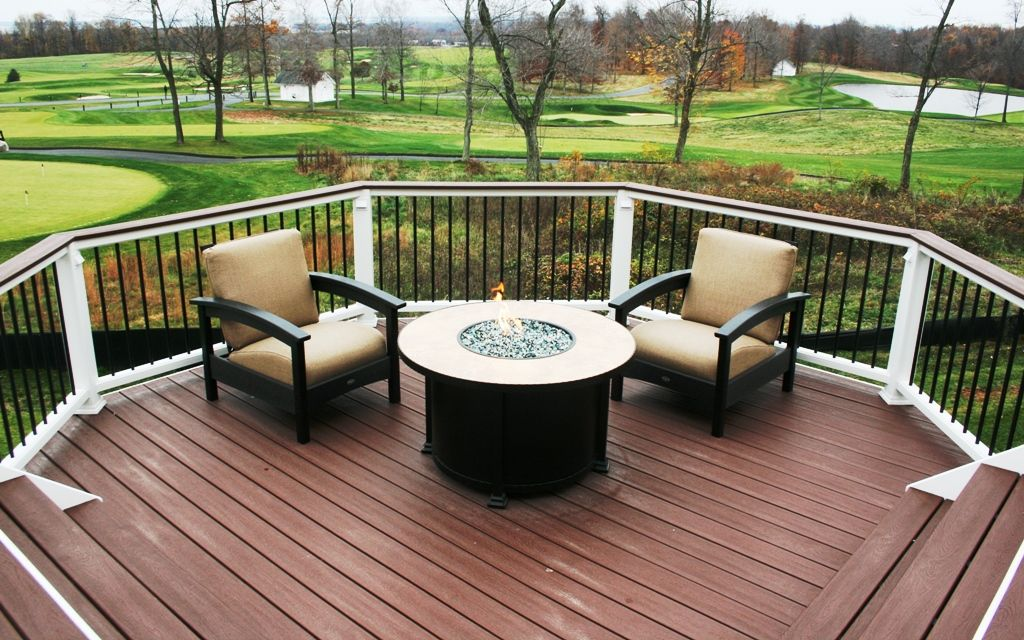 Lower Deck With Firepit Table Trex Furniture Chairs Backyard