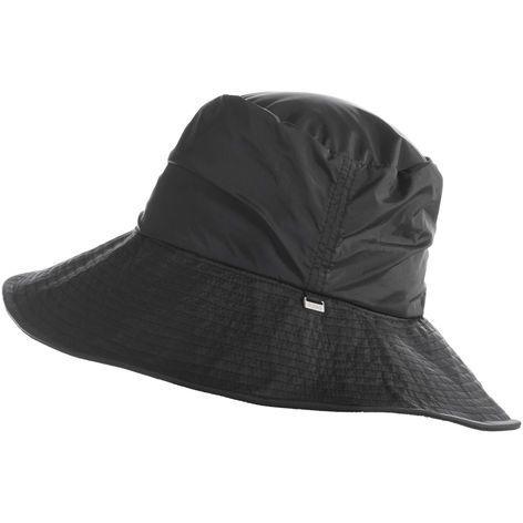 65bc72fc55d totes Women's Ruched Wide Brim Rain Hat-Black | My Style - Coats ...