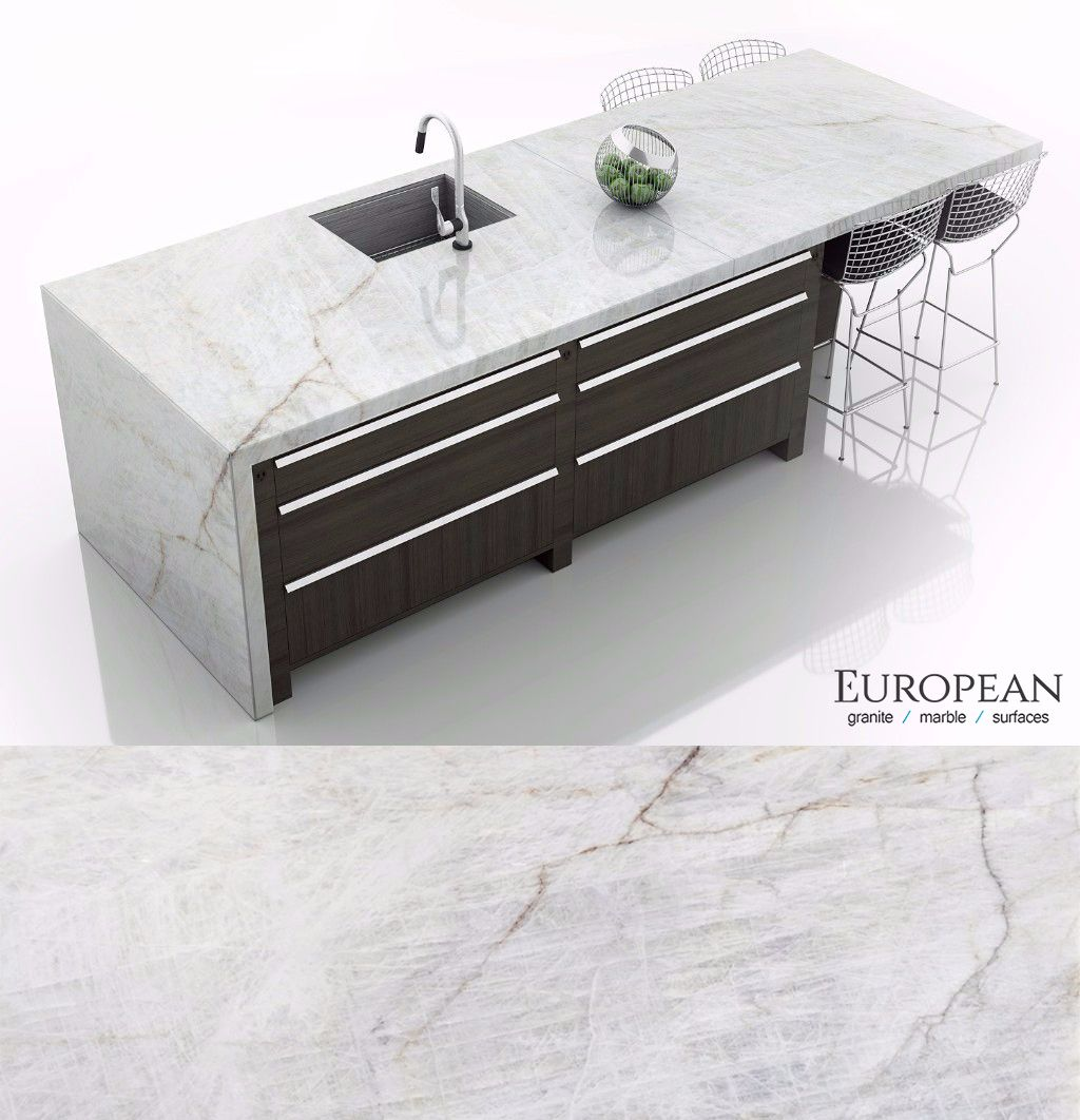Lumix quartzite is seen in this kitchen island countertop design. It ...