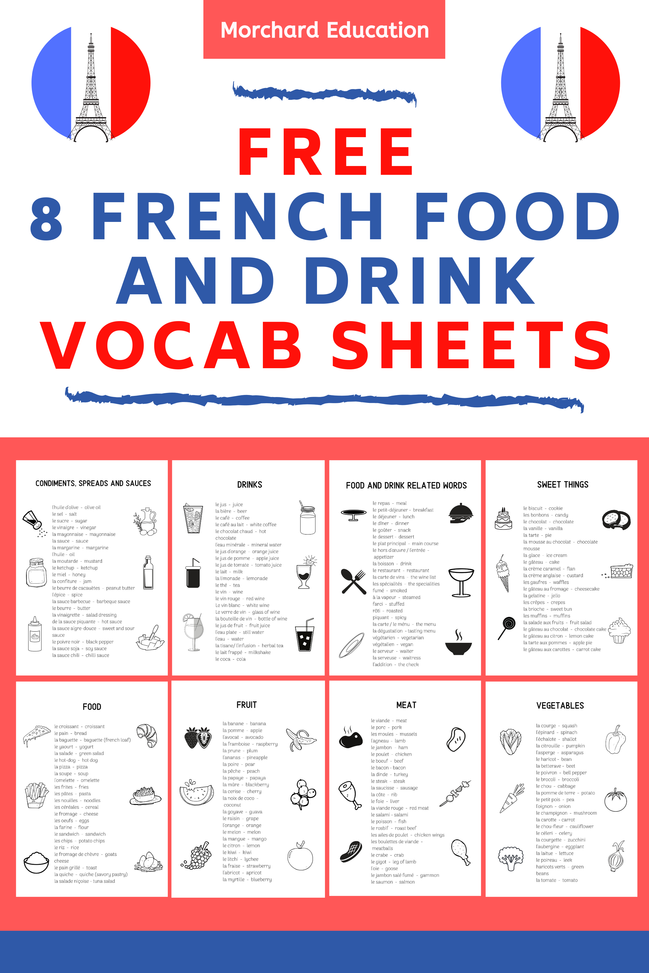 8 Free French Vocabulary Sheets (Food and Drink Words