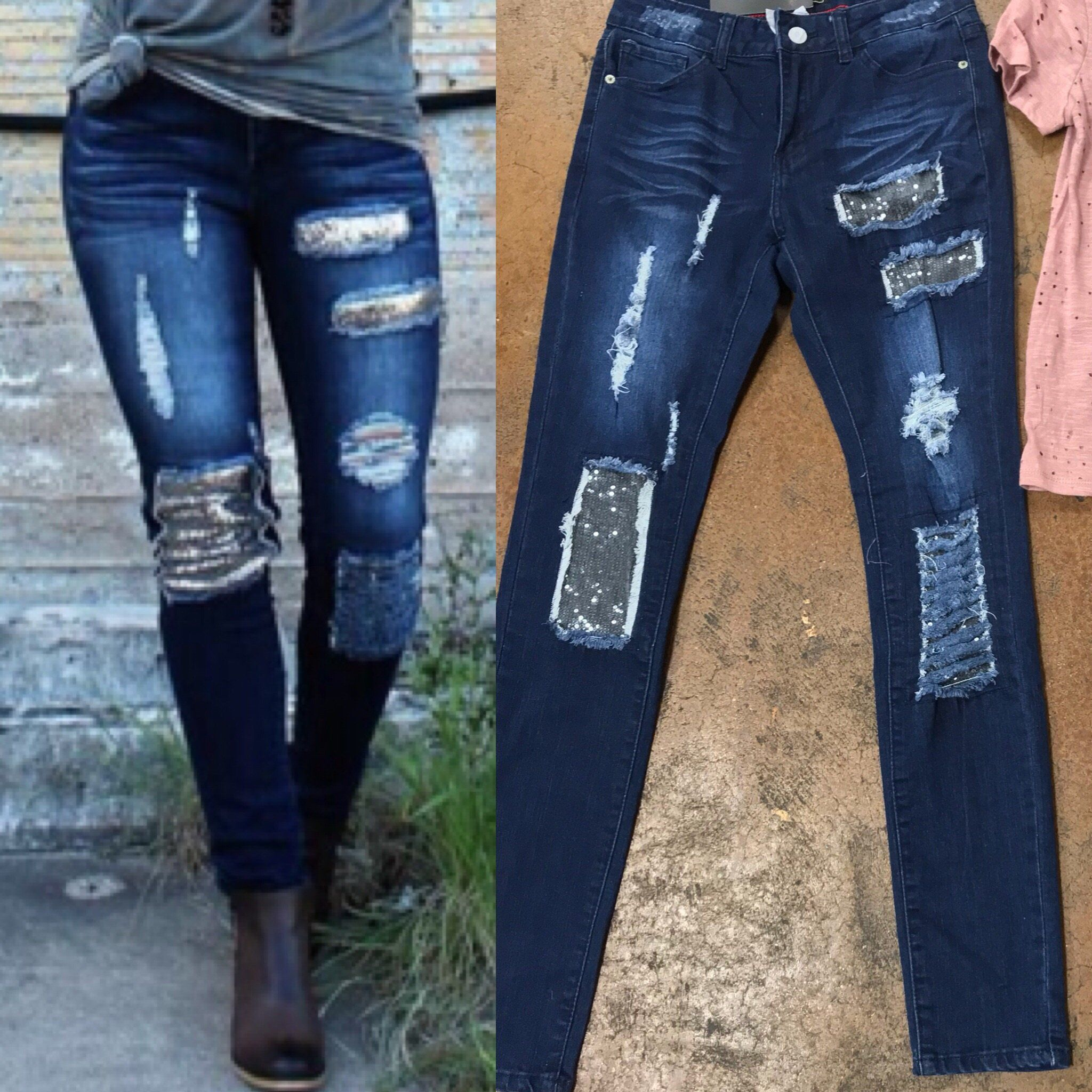 a26639d68099 Distressed dark wash skinny jeans with sequin sparkle patches. The jeans  are a mid rise with perfect amount of stretch.