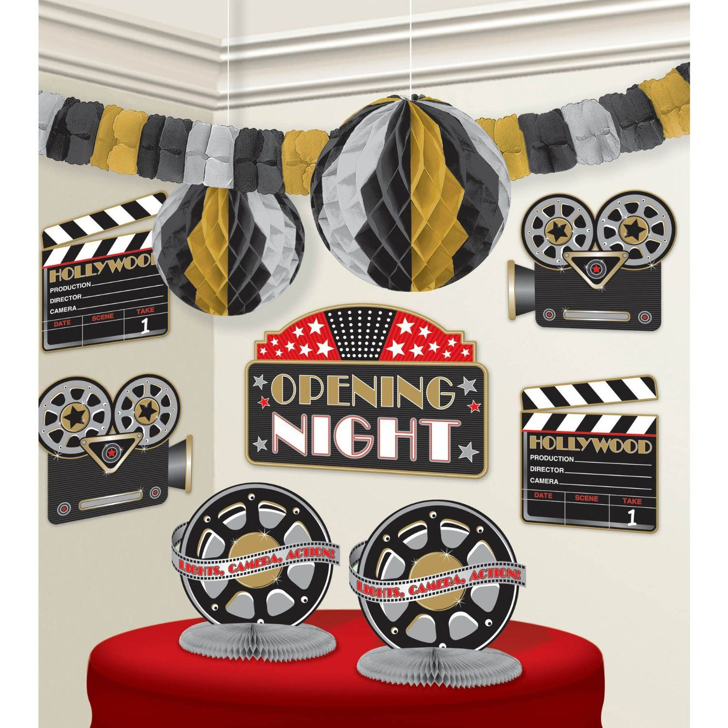 Superb Movie Themed Decorating Ideas Part - 2: The Hollywood Decoration Kit Is Everything You Need To Make Your Hollywood  Themed Event One To Remember! The Kit Includes 10 Decorations.