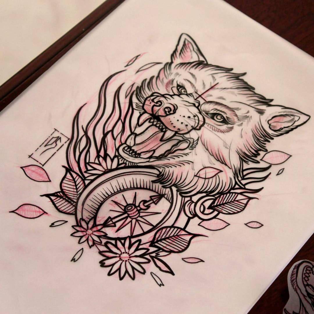 tatouage old school loup