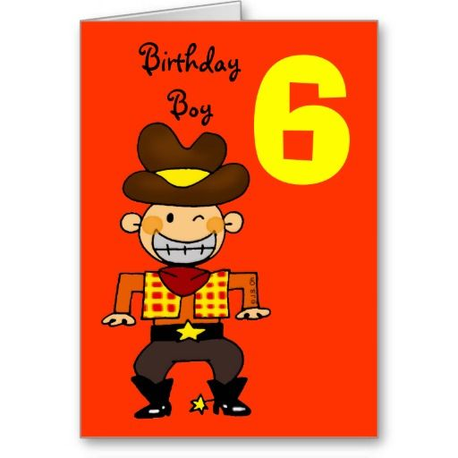 6 Year Old Birthday Boy Card Birthday Invitations Cowboy