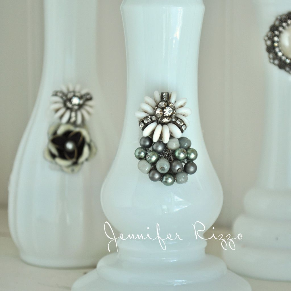Upcycle Milk Glass Vases With Vintage Jewelry 20 Minute Or Less Crafts Milk Glass Vase