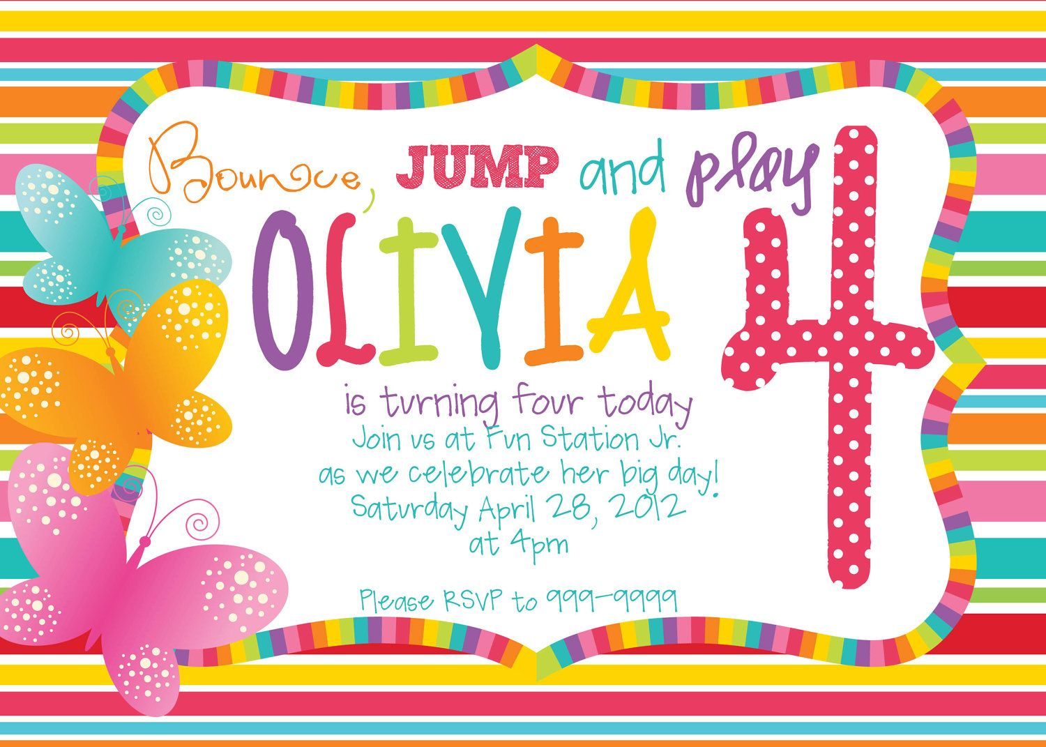 Printable Rainbow Butterfly Birthday Invitations 1500 via Etsy – Butterfly Invitations Birthday