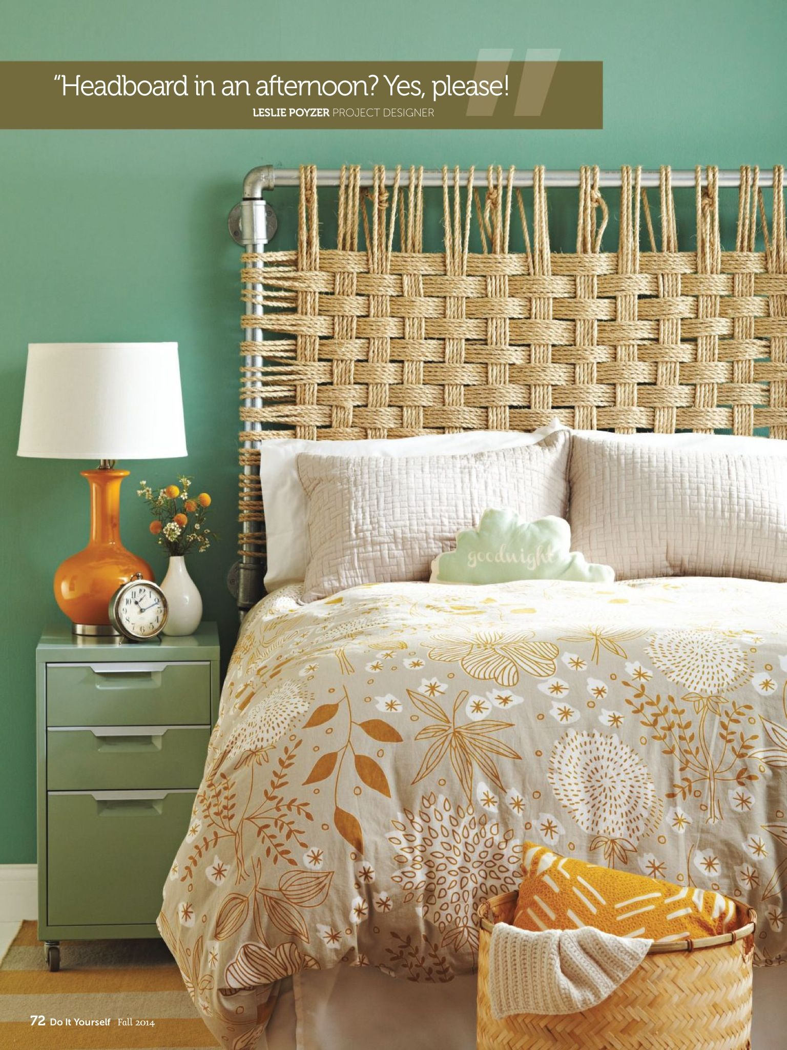 DIY headboard: industrial metal piping and rustic rope. Can think of ...