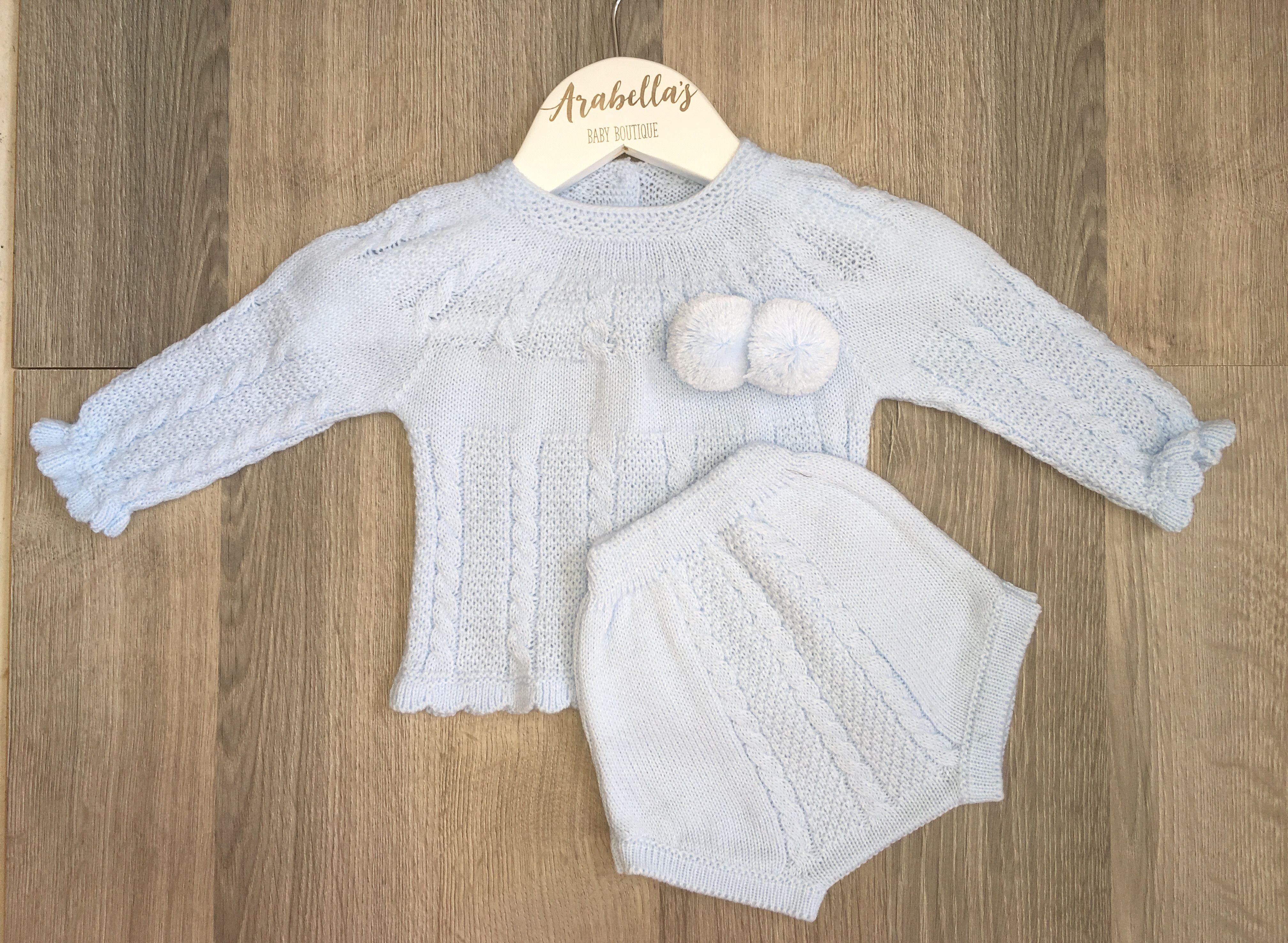 Baby blue boys knitted jam pant set with pompoms Spanish boys