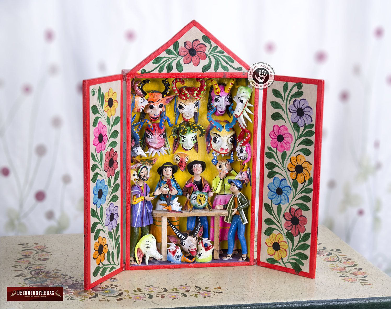 folk art diorama retablo from peru peruvian wood diorama