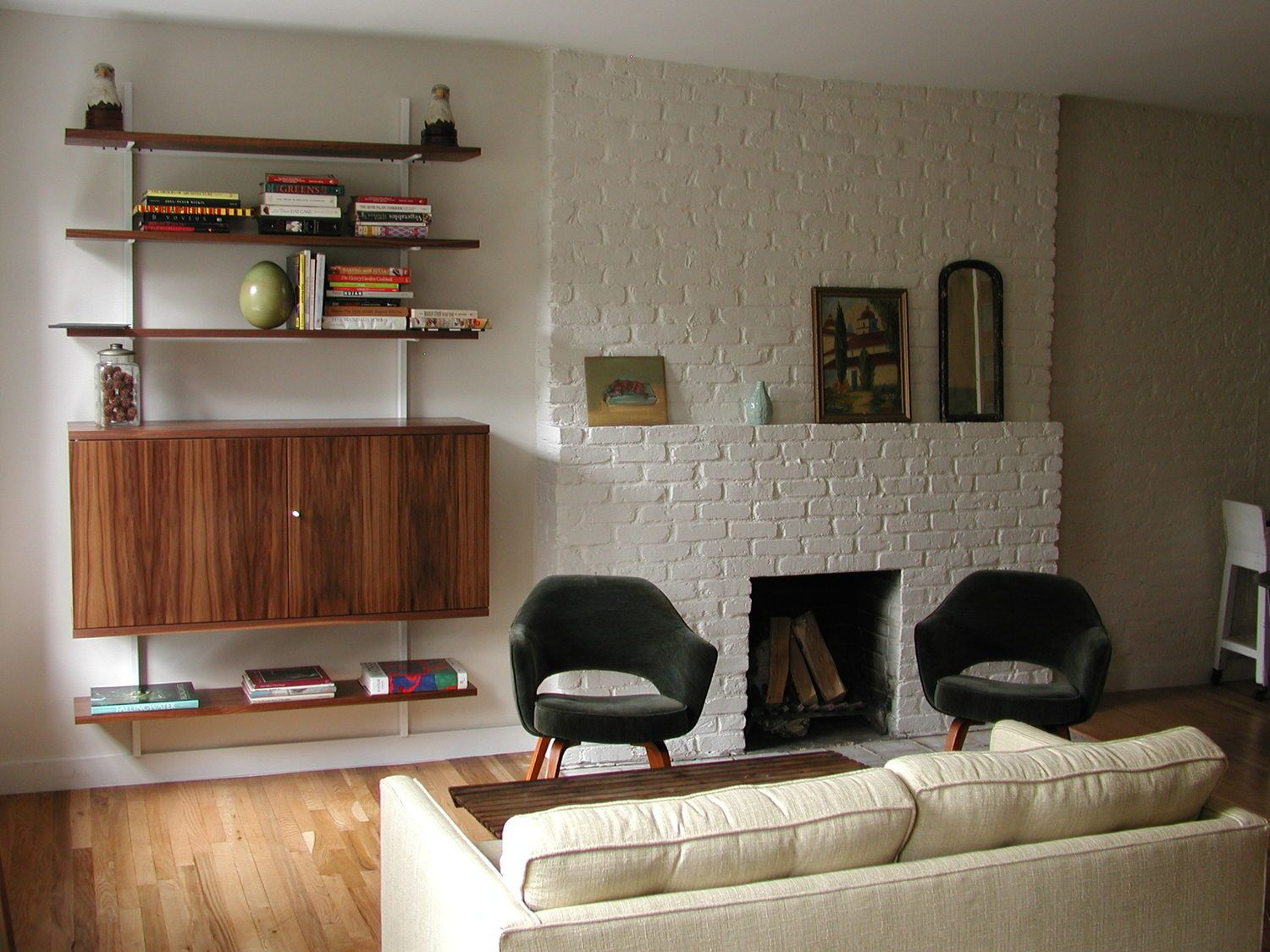 Atlas Industries Interior Design Services Gut Renovation NYC Apartment  Storage Custom Shelving Cabinets Living Room Office