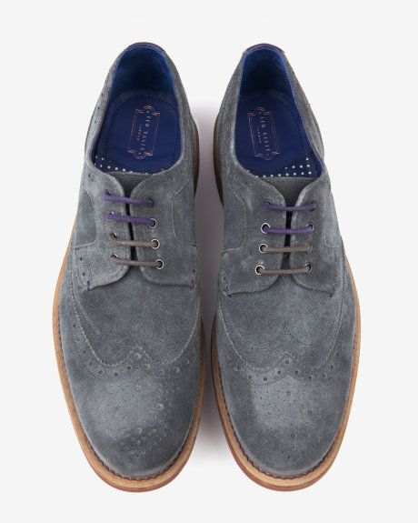 Suede wingtip brogues - Gray | Shoes