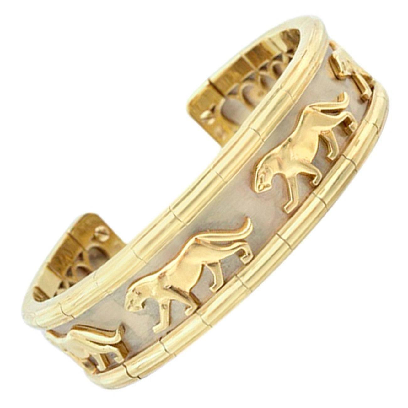 Cetas Gold Panther Cuff Bracelet