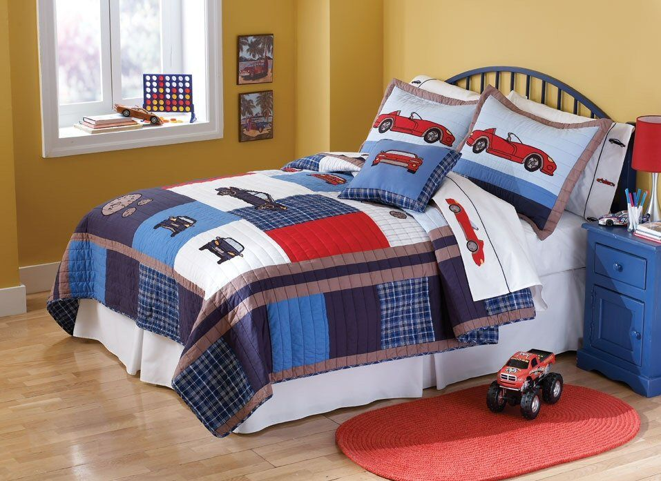 Cars Toddler Bed Set: Red Sports Car Boys Bedding Full/Queen Quilt Set