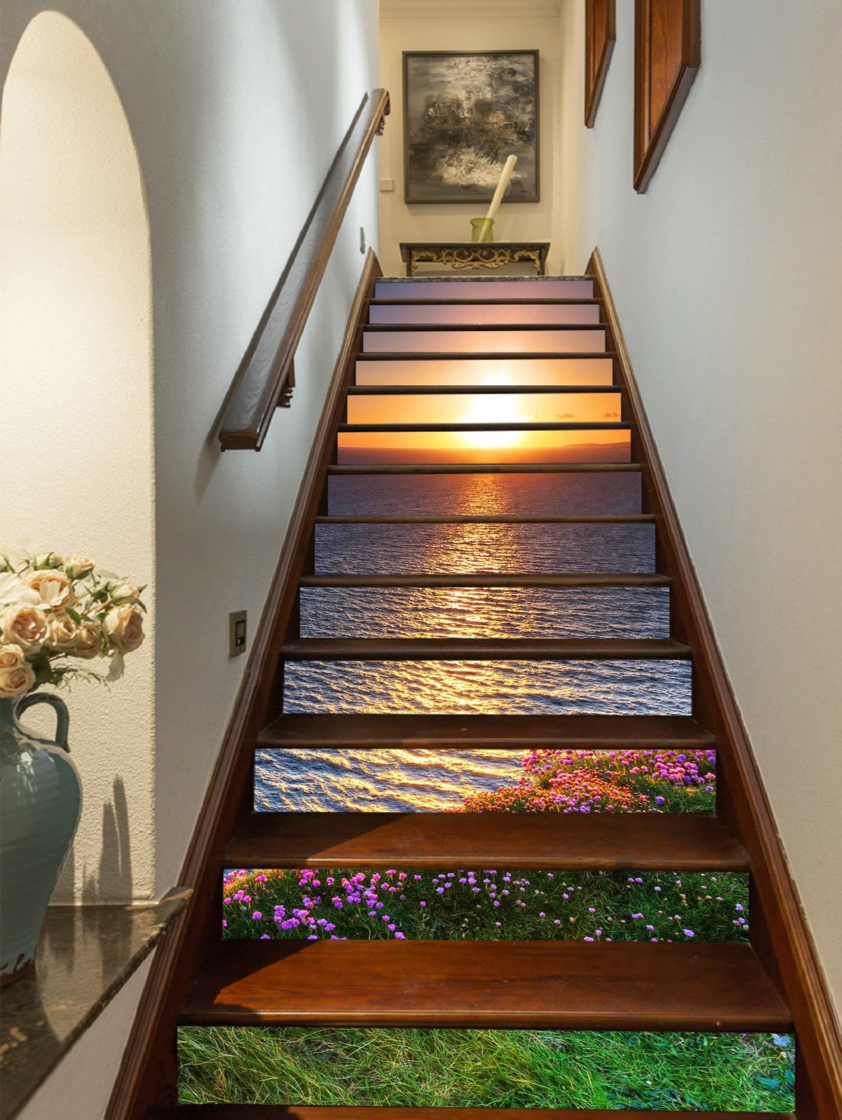 Best 3D Sea Sunset Flowers 728 Stair Risers Stair Risers 400 x 300