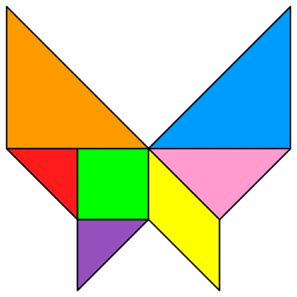 the solution for the tangram puzzle butterfly