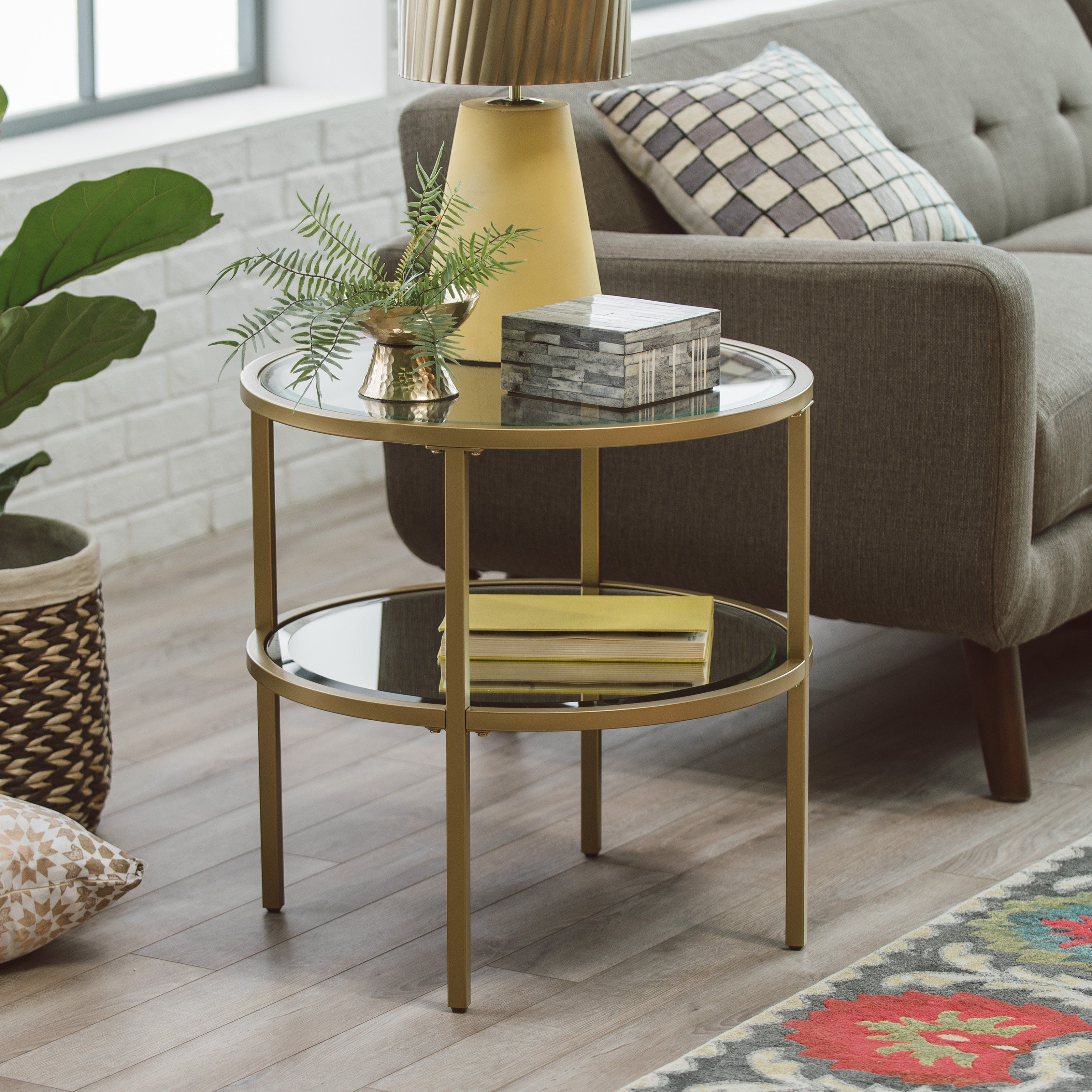 Belham Living Lamont Round End Table Gold From Hayneedle Com Living Room Side Table Living Room End Tables Table Decor Living Room