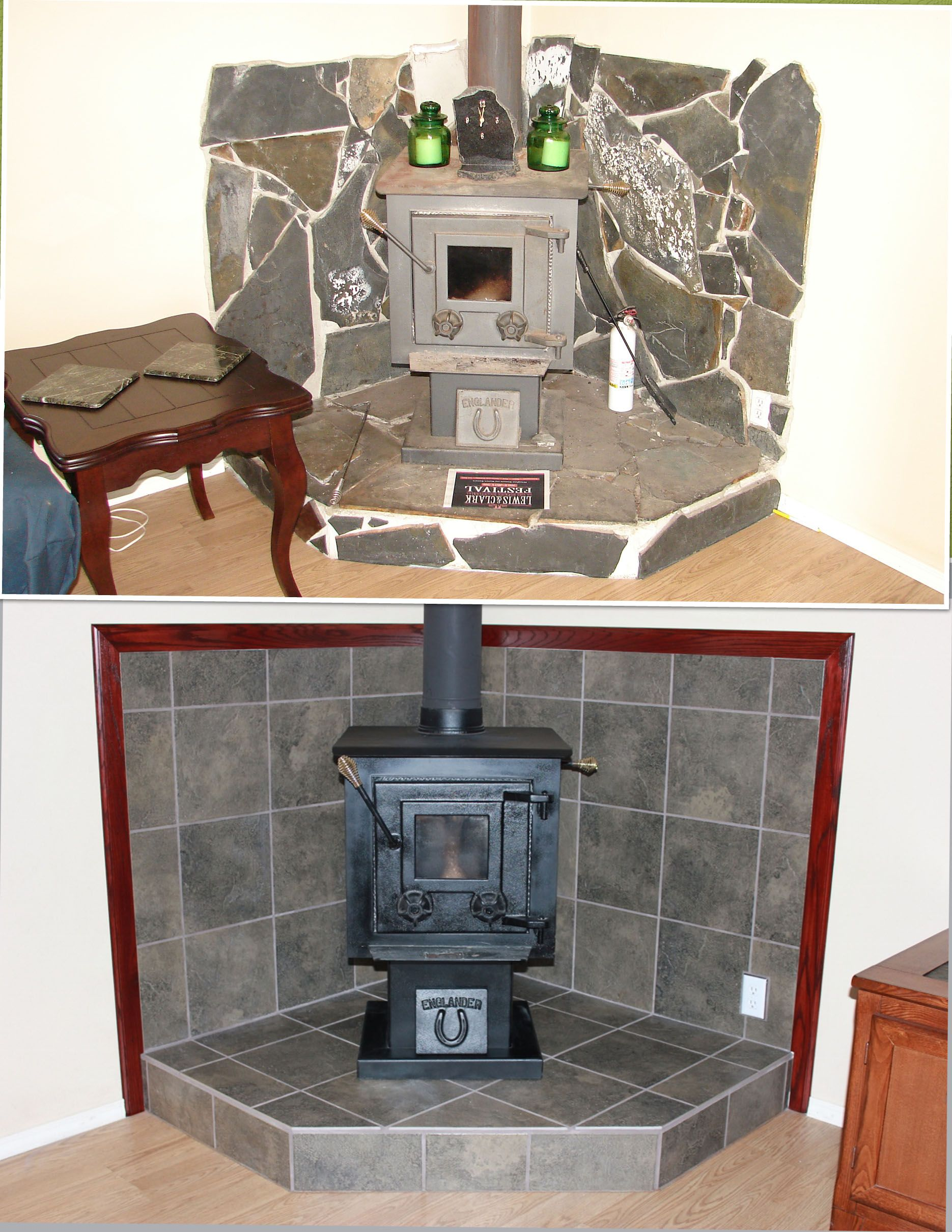 Free Standing Wood Stove Fireplace Surround Project We Tore Out The Slate Chunks And Mortar Wood Stove Fireplace Wood Stove Surround Free Standing Wood Stove