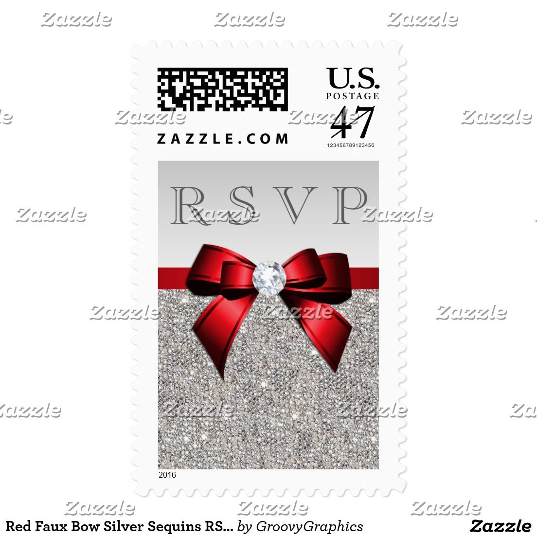 Red Faux Bow Silver Sequins RSVP Postage | wedding invitations ...
