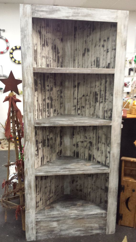 Beautiful Rustic Corner Bookcase Featuring By BeaDazzledandBeyond