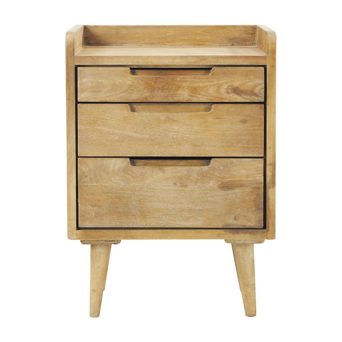 Cheap Discount Furniture Online: Table De Chevet Vintage Avec Tiroirs En Manguier L 45 Cm