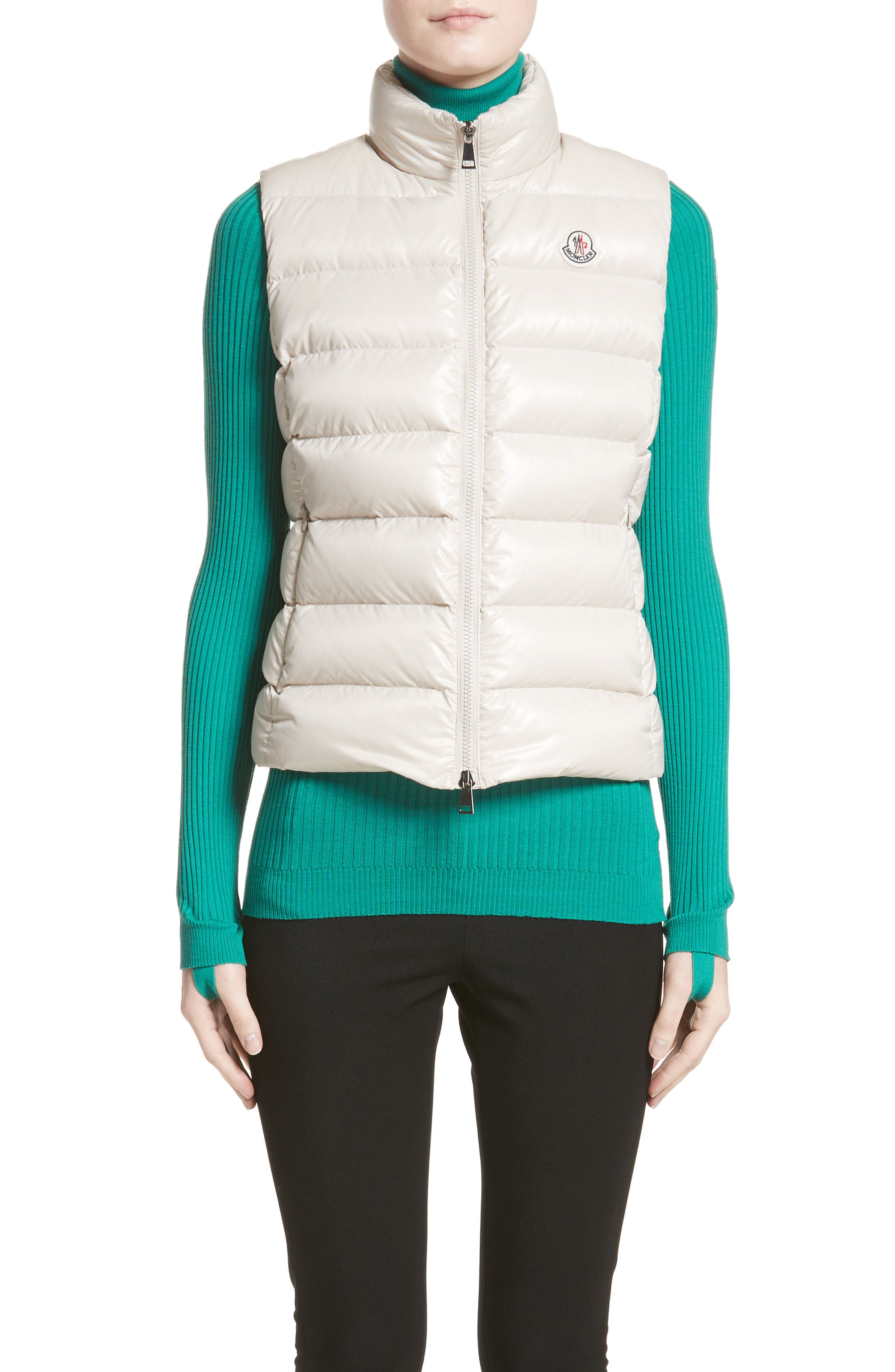 a09676201 Women's Moncler Ghany Water Resistant Shiny Nylon Down Puffer Vest ...