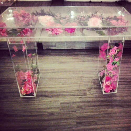 Modern Clear Acrylic/Lucite Modular Bridal/Sweetheart Table 45 Part 70