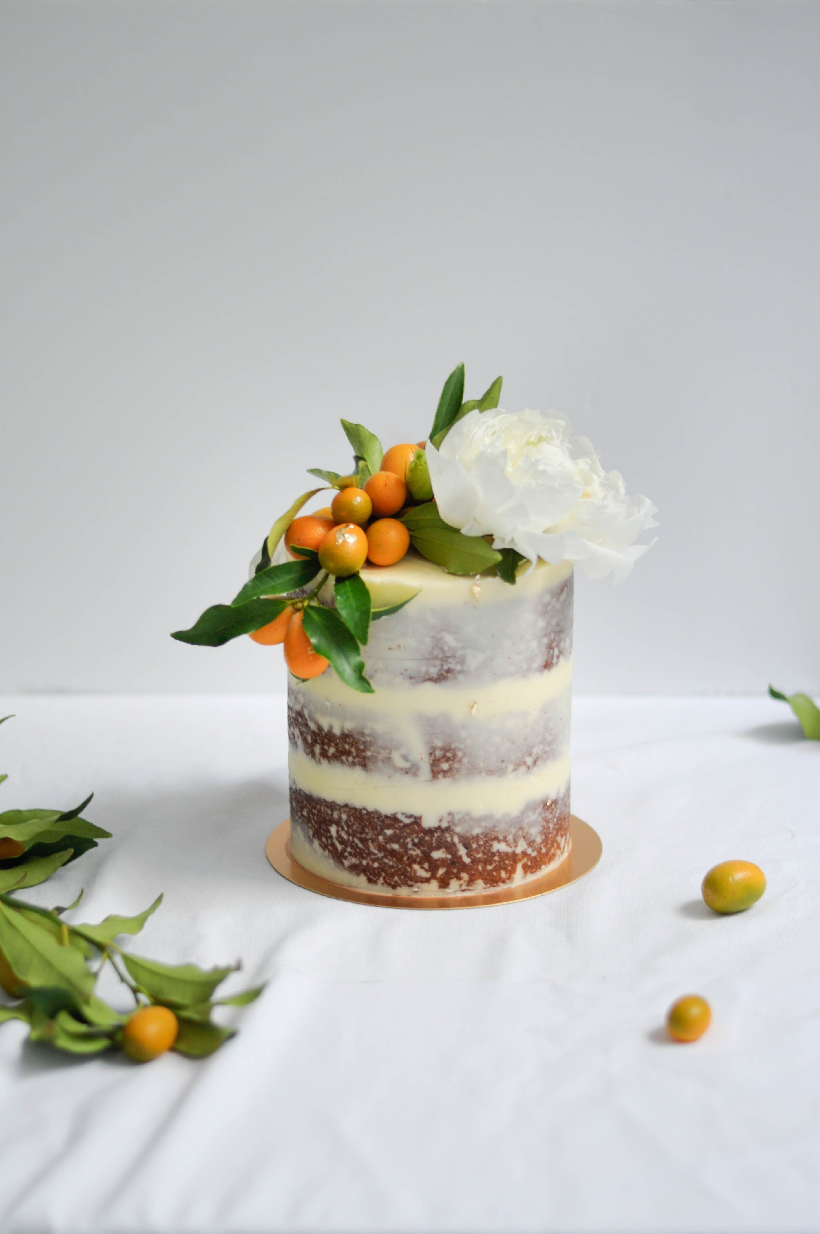 Kumquat and Peony semi-naked gluten-free spiced pistachio carrot cake by LionHeart