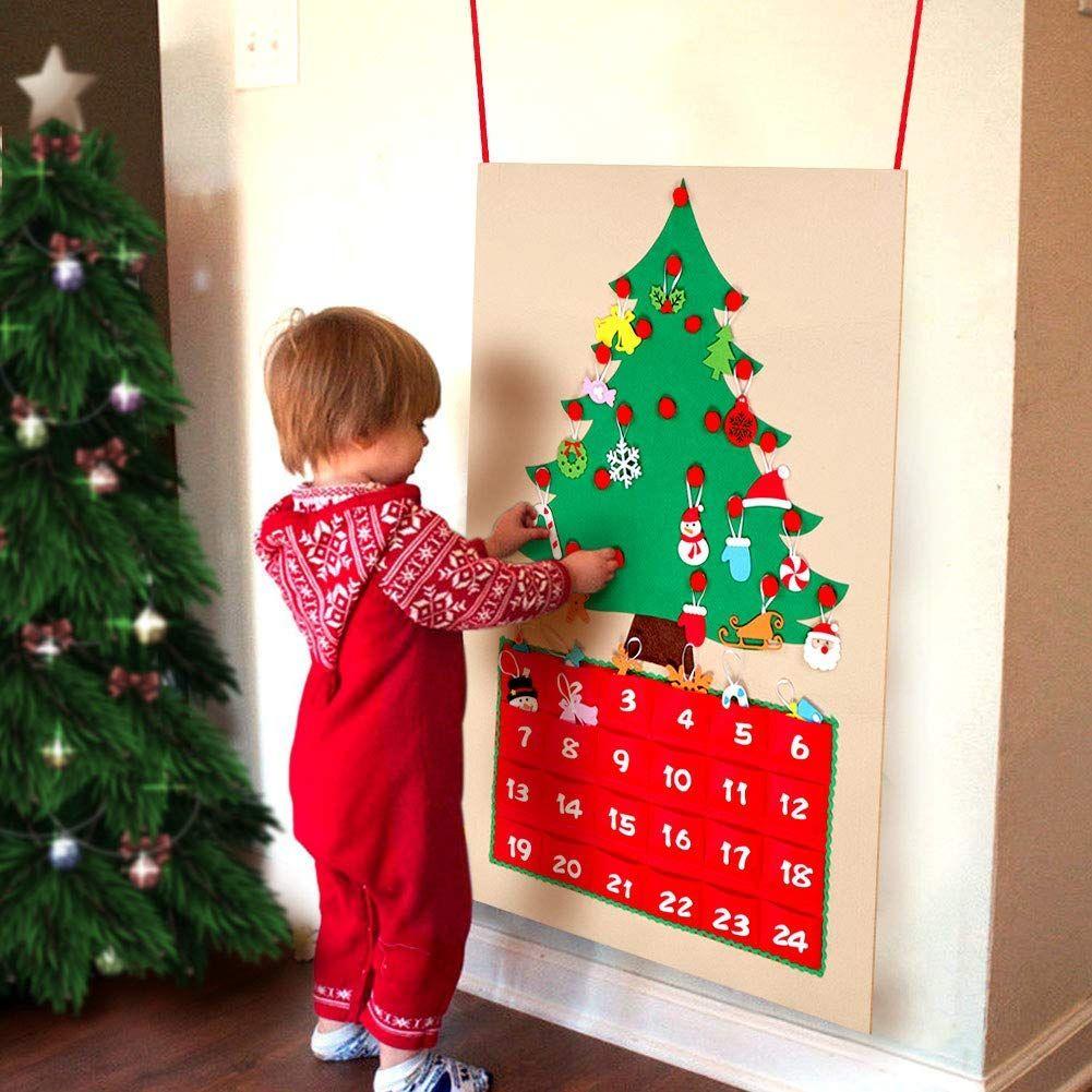 Aparty4u Felt Christmas Tree Advent Calendars For Kids 24 Day Countdown To Chri Diy Felt Christmas Tree Christmas Tree Advent Calendar Christmas Countdown Diy