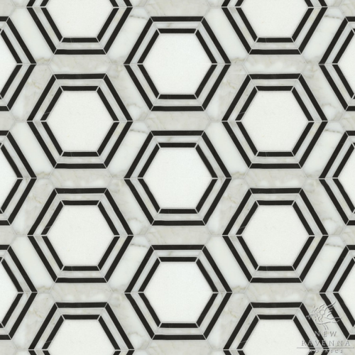 Hexagon Tiles Mosaic Black White New Ravenna Mosaics