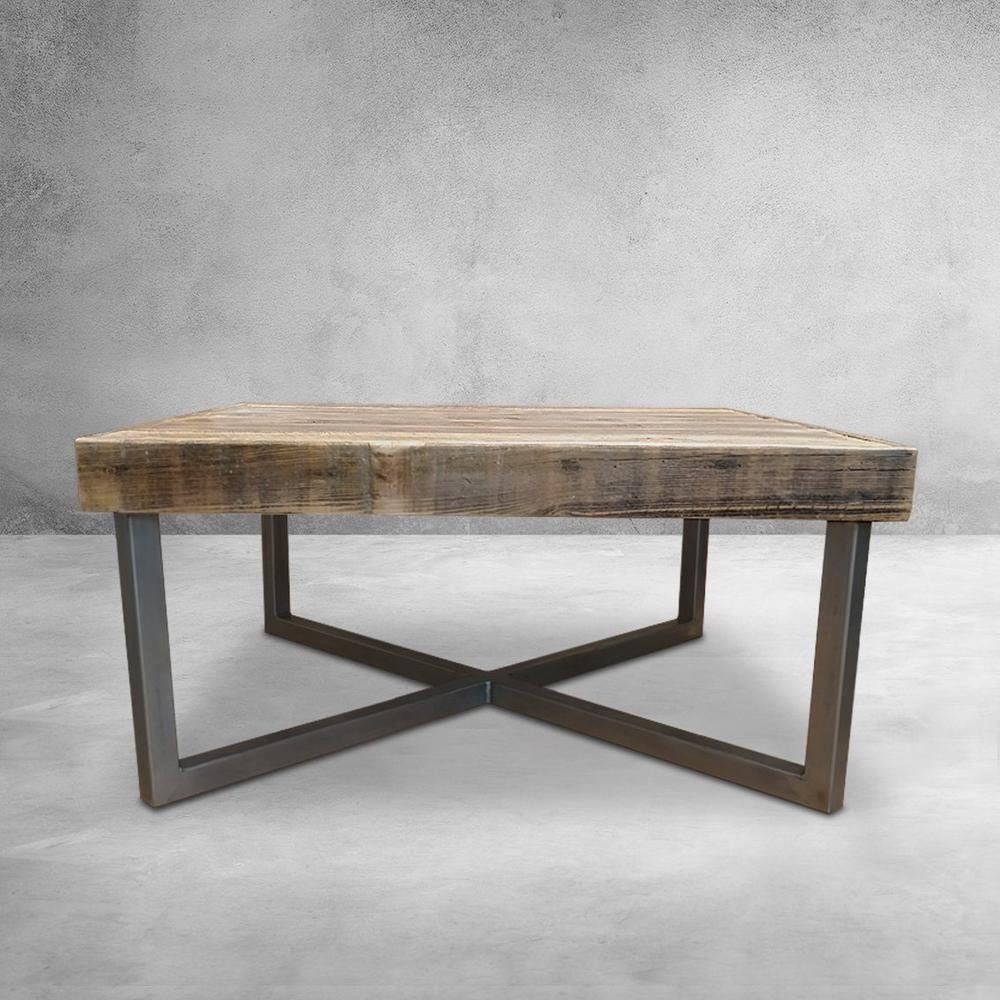 Mid Century Modern Reclaimed Wood Coffee Table Crossed Steel Legs Jw Atlas Wood Co Wood Table Modern Metal Coffee Table Coffee Table Wood