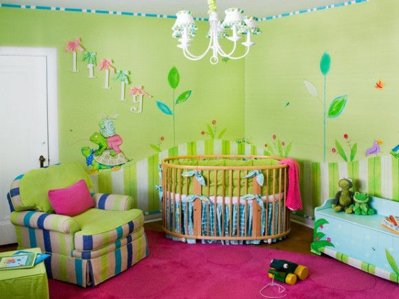 Cameretta baby ~ Pitturare cameretta colore pareti verde con disegni idee per la