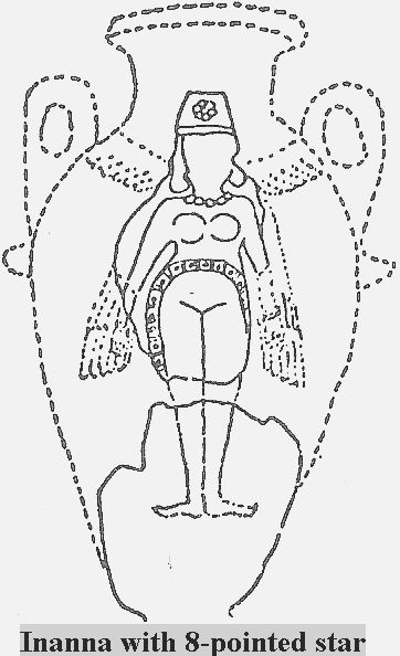 4c Inanna Artefact With Her 8 Pointed Star Symbol Of Venus The