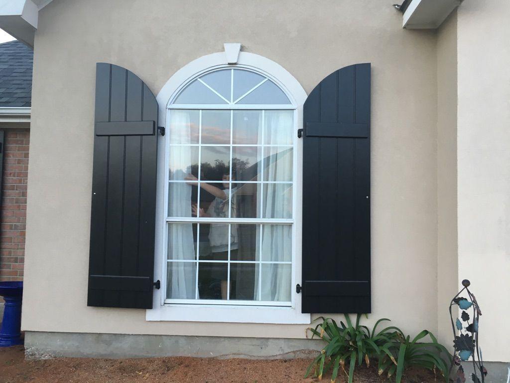 Black Arch Top Board & Batten Exterior Shutters | Exterior ...