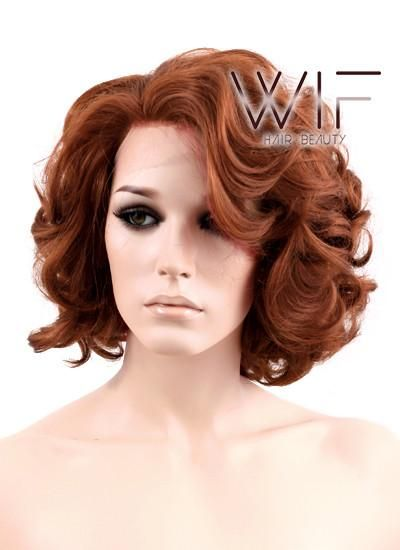 Auburn Wavy Bob Lace Front Synthetic Wig