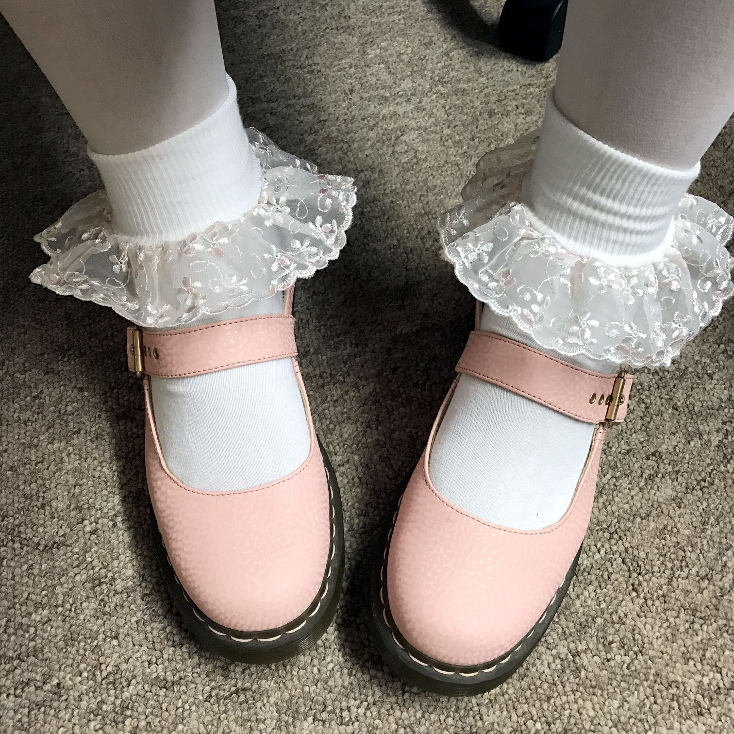 My Pink Dm Mary Janes With Frilly Socks Socks And Heels Sock Shoes Frilly Socks