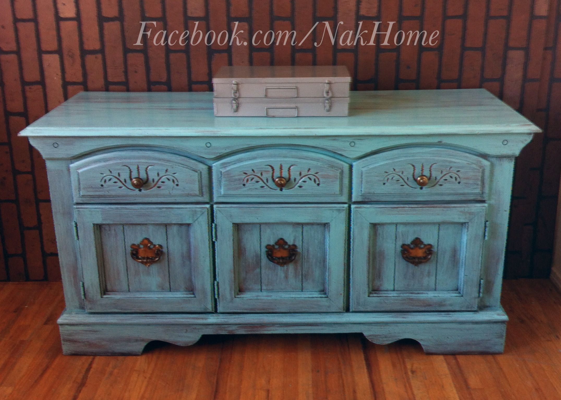 Furniture Upcycle Shabby Chic Turquoise Blue Vintage Buffet Tv Console Cabinet Hand Painted With