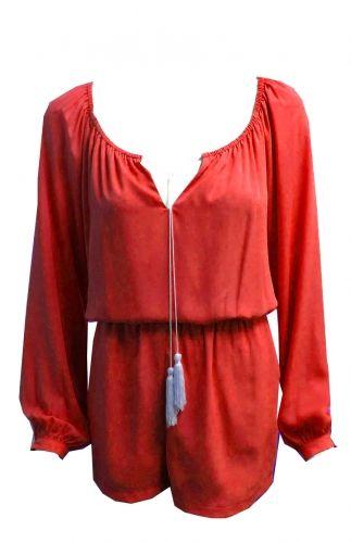 Biba Romper from Single Dress. Blue leopard pattern keyhole v-neck Romper. Made in USA. $136